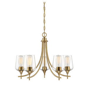 Octave Warm Brass Five-Light Chandelier