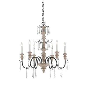 Madeliane Distressed White Iron Six-Light Chandelier