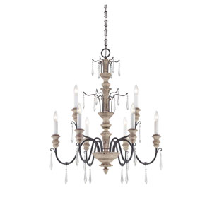 Madeliane Distressed White Wood and Iron Nine-Light Chandelier