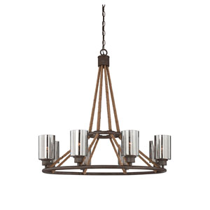 Maverick Artisan Rust Eight Light Chandelier