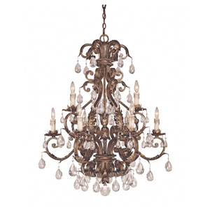 Chastain New Tortoise Shell with Silver Nine-Light Chandelier