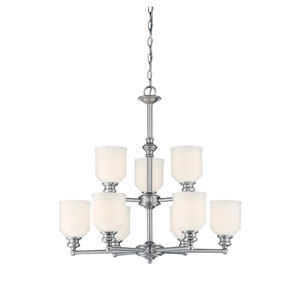 Melrose Chrome and Polished Nickel Nine-Light Chandelier