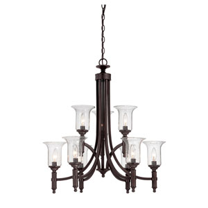 Trudy English Bronze Nine Light Chandelier