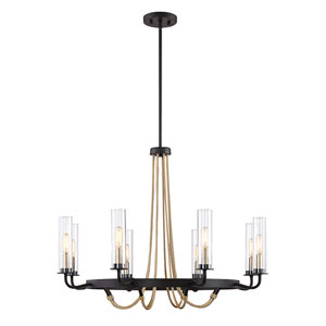 Kearn Vintage Black 32-Inch Eight-Light Chandelier