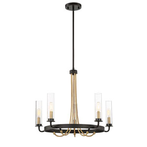Kearn Vintage Black 25-Inch Five-Light Chandelier
