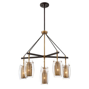Dunba Warm Brass 28-Inch Six-Light Chandelier