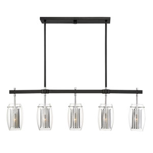 Dunbar Matte Black with Polished Chrome Accents Five-Light Island Pendant