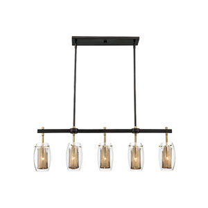 Dunba Warm Brass 40-Inch Five-Light Island Pendant