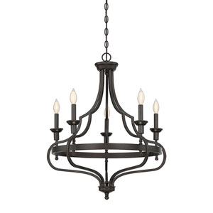 Shiel English Bronze 26-Inch Five-Light Chandelier