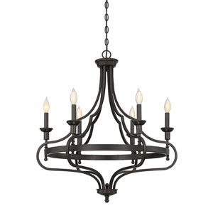 Shiel English Bronze 29-Inch Six-Light Chandelier