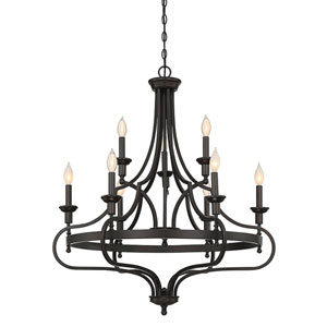 Shiel English Bronze 32-Inch Nine-Light Chandelier