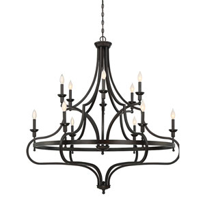 Shiel English Bronze 48-Inch Twelve-Light Chandelier