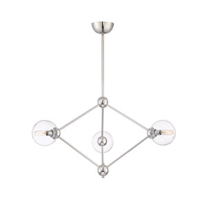 Bonn Polished Nickel 33-Inch Three-Light Chandelier