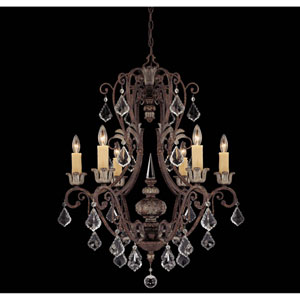 Elizabeth New Tortoise Shell w/Silver Six-Light Chandelier
