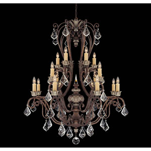 Elizabeth New Tortoise Shell w/Silver Sixteen-Light Chandelier