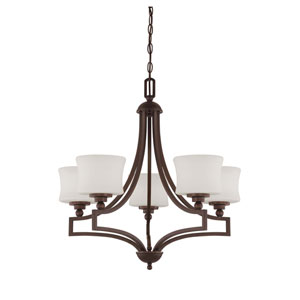 Terrell English Bronze Five-Light Chandelier