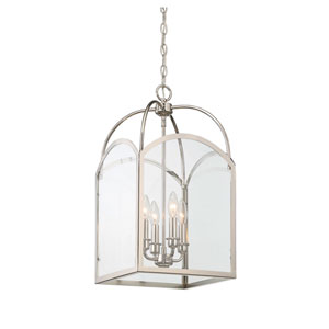 Garrett Polished Nickel 12-Inch Four-Light Foyer Pendant