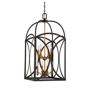 Talbot English Bronze and Warm Brass Eight-Light Chandelier