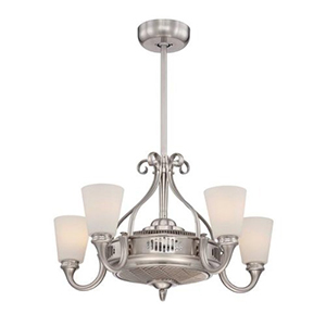 Borea Satin Nickel and Pewter Fluorescent Five Light Ceiling Fan
