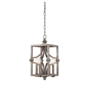 Structure Aged Steel Four-Light Foyer Pendant