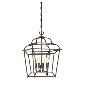 Howell Artisan Rust 20-Inch Four-Light Foyer Pendant