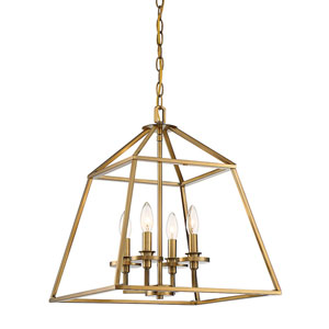 Braxt Warm Brass 24-Inch Four-Light Pendant
