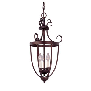 English Bronze Three-Light Foyer Lantern