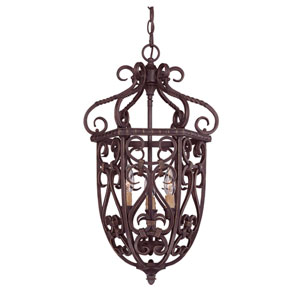Bellingham Bark & Gold Three-Light Foyer Lantern