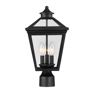 Ellijay Black Three-Light Outdoor Post Light
