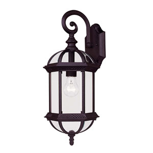 Kensington Small Textured Black Outdoor Wall-Mounted Lantern
