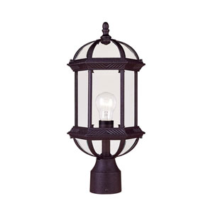 Kensington Outdoor Textured Black Post-Mounted Lantern