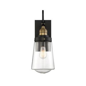 Macauley Vintage Black with Warm Brass 5-Inch One-Light Outdoor Wall Lantern