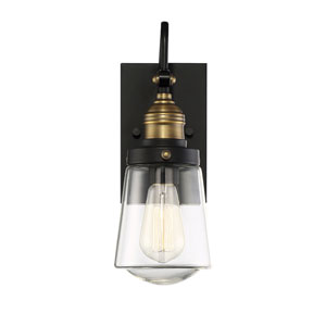 Macauley Vintage Black with Warm Brass 8-Inch One-Light Outdoor Wall Lantern