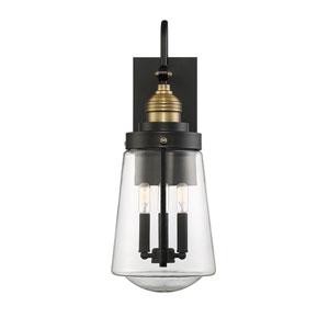Macauley Vintage Black with Warm Brass Three-Light Outdoor Wall Lantern