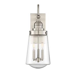 Macauley Satin Nickel Three-Light Outdoor Wall Lantern
