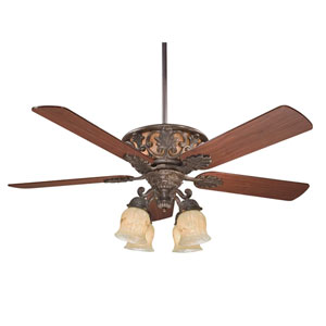 Monarch Walnut Patina Four-Light Indoor Ceiling Fan