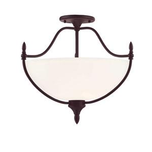 Herndon English Bronze Three-Light Semi Flush