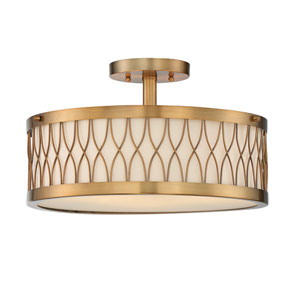 Spinnaker Warm Brass Three-Light Semi Flush
