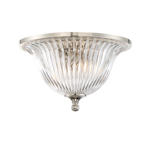 Aberdeen Polished Nickel Two-Light Flush Mount