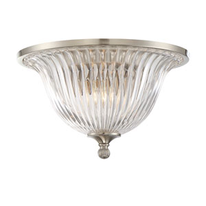 Aberdeen Satin Nickel Two-Light Flush Mount