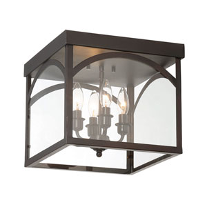 Garrett English Bronze Four-Light Flush Mount