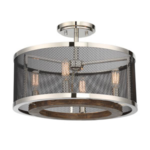 Valcour Polished Nickel and Wood Accents Four-Light Semi-Flush