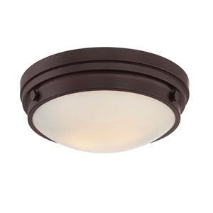 Lucerne English Bronze 13.5-Inch Two-Light Flush Mount