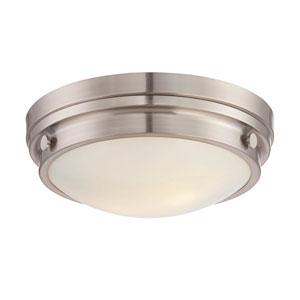 Lucerne Satin Nickel 13.5-Inch Two-Light Flush Mount