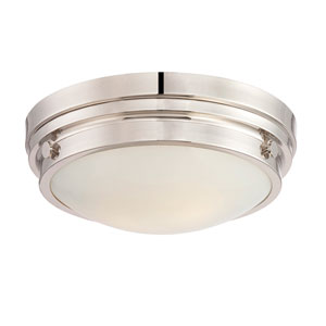 Lucerne Polished Nickel 13.5-Inch Two-Light Flush Mount