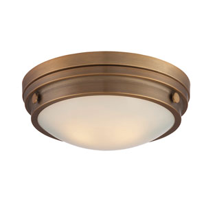 Lucerne Warm Brass 13.5-Inch Two-Light Flush Mount