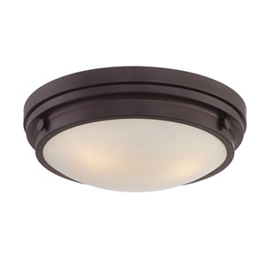 Lucerne English Bronze 15-Inch Three-Light Flush Mount