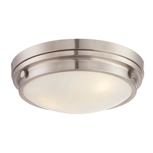 Lucerne Satin Nickel 15-Inch Three-Light Flush Mount