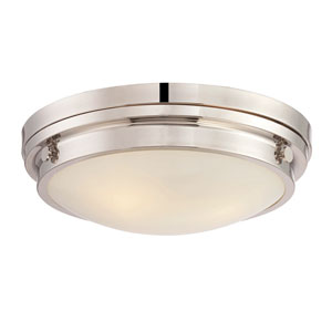 Lucerne Polished Nickel 15-Inch Three-Light Flush Mount