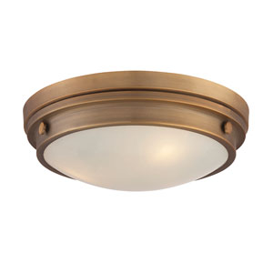 Lucerne Warm Brass 15-Inch Three-Light Flush Mount